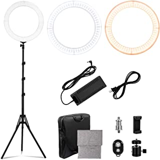 LED Ring Light 18-inch Diameter with 2m Tripod Stand,PRUNLLA 80w Bi-