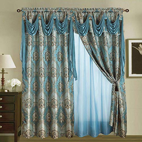 """Jacquard Window 84 Inch Length Curtain Drapes w/Attached Valance Scarf + Sheer Backing + 2 Tassels, Traditional 84"""" Floral Curtain Drape for Living/Dining Rooms, Rod Pocket (Elisa, 84, Blue)"""
