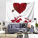 Tapiz de pared, tapiz con estampado de pétalos florales en forma de corazón para colgar en la pared para dormitorio, dormitorio, decoración de dormitorio universitario, (80 x 60 inch)