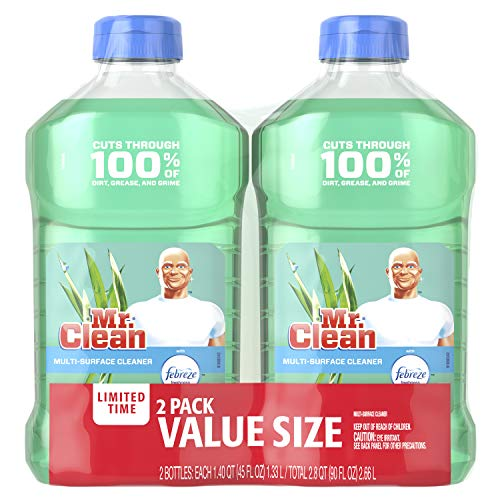 Mr. Clean Liquid All Purpose Multi-Surface Cleaner | Meadows and Rain with Febreze Freshness - 45 Ounce Each Bottle (Pack of 2) (Total 90 fl oz)