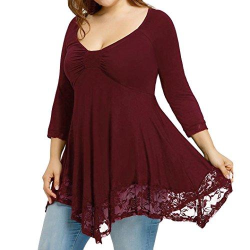 MRULIC Damen Tunika Frauen Sommer Kurzarm Große Größe Spitze Hemd Lange Hülsen Beiläufige Lange Shirt Oberseiten-Bluse Geschenk zum Muttertag