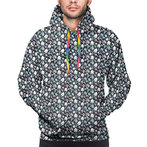 AIQIIA Men's Hoodies 3D Print Pullover Sweatershirt,Winter Doodle Happy New Year Themed Abstract Trees with Snowflakes,M