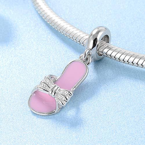 DASFF Mode 925 Sterling Silber rosa emaille Pantoffel Form feine anhänger perlen fit original Charme Armband schmuck Machen