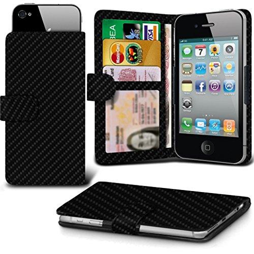 ( Black Carbon) OnePlus 3T HŸlle HandyhŸlle pouch DŸnn Carbon Effect Federklammer Clip on Adjustable Brieftaschen-Etui HŸlle HandyhŸlle Skin with Credit/Debit OnePlus 3T HŸlle Von i-Tronixs