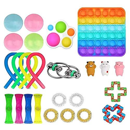 Rpporm Tik Tok Sensorisches Fidget Spielzeug Set für Autismus ADHS-Menschen, Anti Stress Pop it Toys für Stressabbau und Anti-Angst für Kinder und Erwachsene (C-Mehrfarbig 25PC, Einheitsgröße)