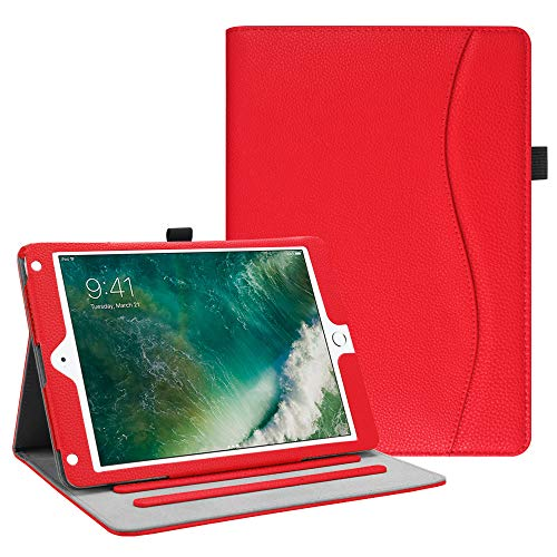 Fintie iPad 9.7 2018 2017 / iPad Air 2 / iPad Air Case - [Corner Protection] Multi-Angle Viewing Folio Cover w/Pocket, Auto Wake/Sleep for Apple iPad 6th / 5th Gen, iPad Air 1/2, Red