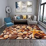 WZZSKE Alfombra de Design Moderno de Pelo Corto Alfombra Lavable Antideslizante Súper Suave para salón Dormitorio Comedor etc Estrella de mar de Piedra Amarilla 3D Alfombra Tamaño: 60 x 90 cm