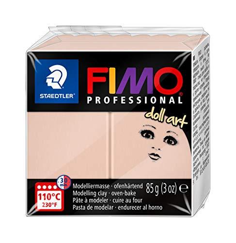 STAEDTLER FIMO Professional Doll Art, pasta modellabile termoindurente, studiata per modellare bambole, panetto da 85 gr, color rosato semi opaco, 8027-432