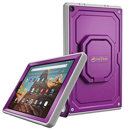 Fintie Case for All-New Amazon Fire HD 10 (7th and 9th Generations, 2017 and 2019 Releases) - [Tuatara Magic Ring] 360 Rotating Multi-Functional Grip Carry Cover w/Built-in Screen Protector, Purple