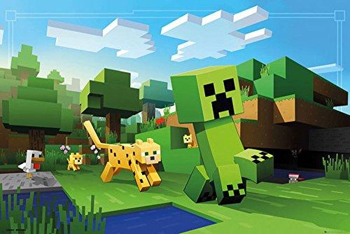 empireposter Minecraft-Ocelot Chase-Videospel PC Poster Poster Afdruk formaat 91,5 x 61 cm, papier, kleurrijk, 91,5 x 61 x 0,14 cm