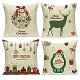 Gspirit 4 Pack Navidad Santa Claus Elk Algodón Lino Throw Pillow Case Funda de Almohada...