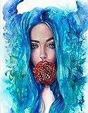 Kit De Pintura De Diamantes 5D Chica De Pelo Azul Bordado Adulto Hecho A Mano Saco Arte Redondo Diamante Cuadrado Diamante Kit Resina Regalo Rebordear Costura Cristal 40 * 50 Cm