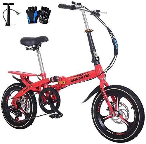 LJXiioo Vélo Pliant 14/16/20 Pouces, vélo de Montagne pour Hommes Mini Femmes Portables pour Adultes, étudiants, employés de Bureau, navettage,A,20IN