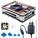 Miuzei Boîtier pour Raspberry Pi 4 avec Ventilateur et Bloc d'alimentation USB C 5 V 3 A 4 × Aluminium dissipateur Thermique...