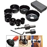 Epica EP-10220 Hole Saw Kit of 8 Pieces of 19mm - 64mm Diameter Cup Saw, 2 x Spindle, Hex Key, Installation Plate and 1 x Box Suitable for Electric Drill