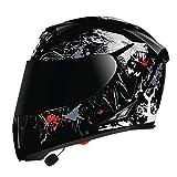 Casco Moto Integrale Adulto, Casco Moto Bluetooth Con Doppia Visiera Parasole Anti-Appannamento, Casco Moto Auricolare Bluetooth Integrato, Certificazione ECE A,XL