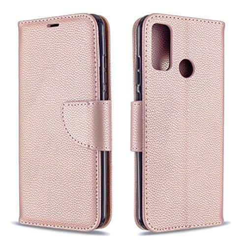 Byr883onJa Funda protectora para Huawei P Smart (2020) Textura Litchi Color Puro Horizontal Flip PU Funda de cuero con soporte y ranuras para tarjetas, cartera y cordón de teléfono (color oro rosa)
