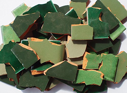 4 kg Bruchmosaik, Mosaikfliesen aus handgefertigten Fliesen - Grüntöne, Großmenge