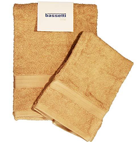 Bassetti - Juego de toallas de baño para cara y bidé Bassetti   Par de toallas de baño con invitados   60 x 110 cm + 40 x 60 cm   Col.1606 – Cuerda