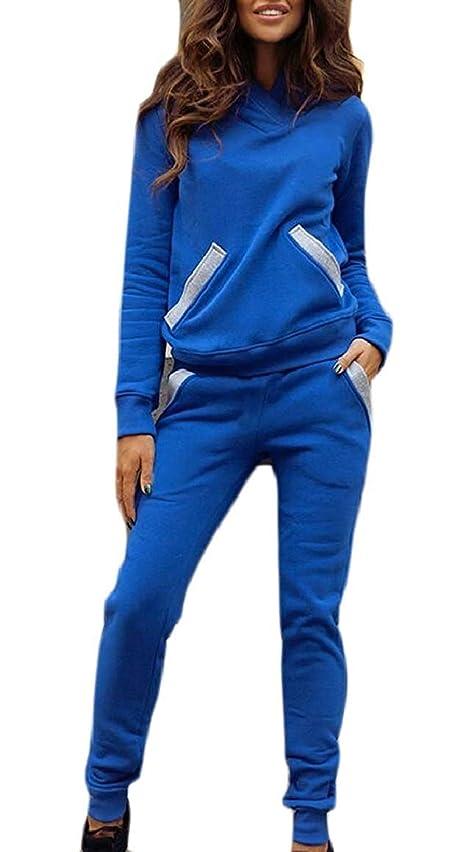 パーティー拮抗するレキシコンレディースファッショントラックスーツセットジョガーパンツ2ピース衣装スウェットスーツ Red US Small