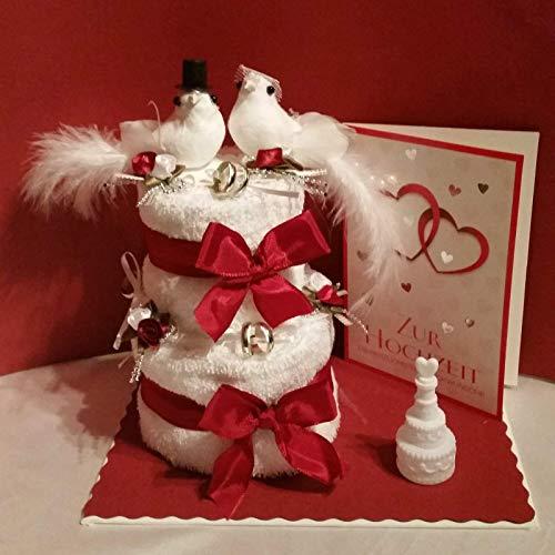 * Hochzeitgeldgeschenk * kleine Torte mit Taubenbrautpaar und Karte auf Leinwand *