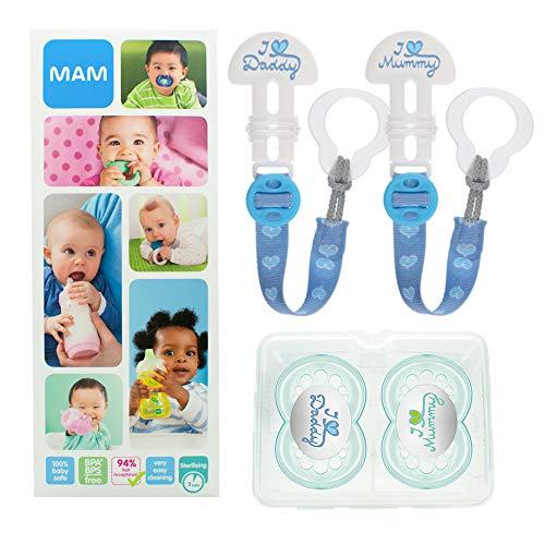 MAM Happy Family Soothing Set, ensemble tétine & attache-tétine dès 6 mois, cadeau de naissance 2 tétines Original silicone et 2 attaches\