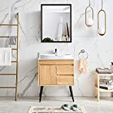 26 inch x 16 inch Aluminum Bathroom Mirror Cabinet Black Wood Framed Wall Aluminum Alloy Waterproof Medicine Cabinet Northern Europe Storage Hanging Cabinet with Single Door for Toilet Kitchen