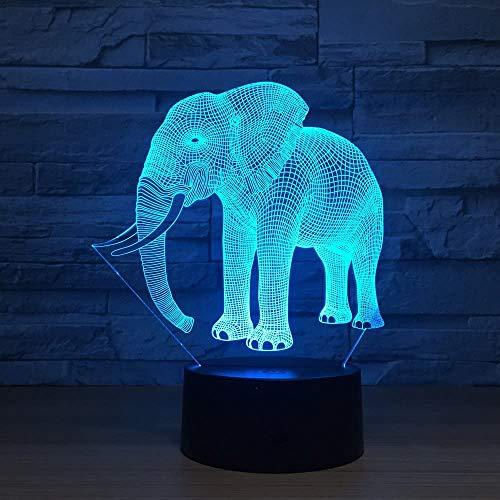 3D nachtlampje LED olifantenvorm illusie lamp decoratie bedlampje ideaal geschenk voor kinderen jongens en meisjes zoals op verjaardagen of kerstvakanties