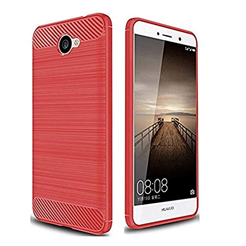 Huawei Ascend XT2 Case, Brushed Rugged Armor Hybrid TPU Cover Case for Huawei Ascend XT2 / Elate 4 (Red)