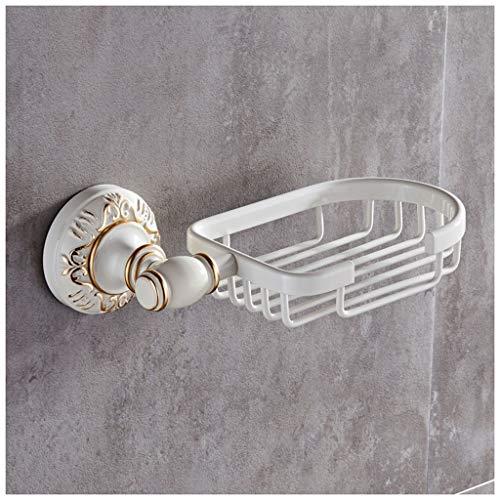 Wandmontierter Seifenhalter mit Drainage Dusche-Badablage,Seifenspender für Badezimmer,Aluminium-Schwammkorb, 20 × 11 cm (Farbe : Weiß)