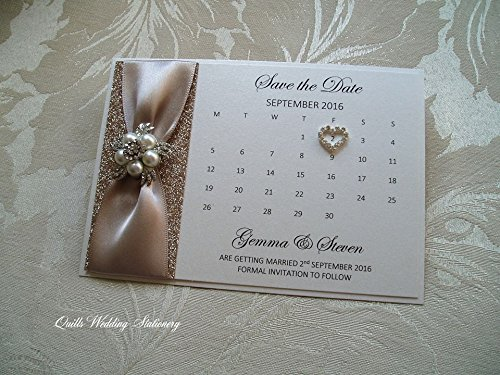 Save the Date card. Champagne Glitter, Satin Ribbon with Pearl & Diamante Brooch.