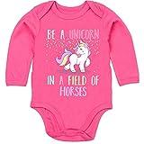 Einhorn Unicorn - be a Unicorn a Field of Horses - 6/12 Monate - Fuchsia - Baby Strampler - BZ30 - Baby Babybody Langarm Strampler