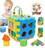 Joyoldelf - Cubo di attività divertente, giocattolo educativo, 6 in 1, per imparare attività, cubo centrale, forme e colori musicali, giocattolo per bambini, regalo di Natale