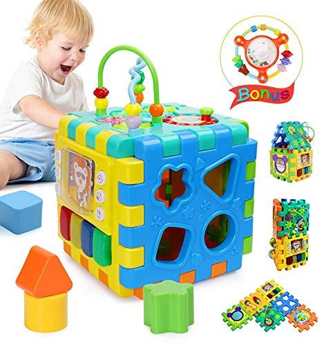 Joyoldelf - Cubo de actividades lúdicas, juguete educativo 6 en 1 para jugar, aprender actividad, cubo central, formas y colores musicales, juguetes para bebés y niños, regalo de Navidad