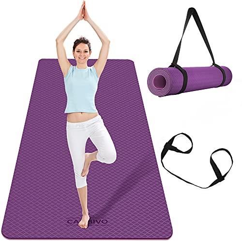 CAMBIVO Esterilla de Yoga Extra Grande, Yoga Mat con Correa de Transporte,...