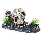 CJBIN Decoración para acuario, diseño de calavera con plantas para niños, gambas, pescado, tortuga (15 x 8 x 10 cm)