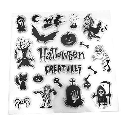 ECMQS Halloween DIY Transparente Briefmarke, Silikon Stempel Set, Clear Stamps, Schneiden Schablonen, Bastelei Scrapbooking-Werkzeug