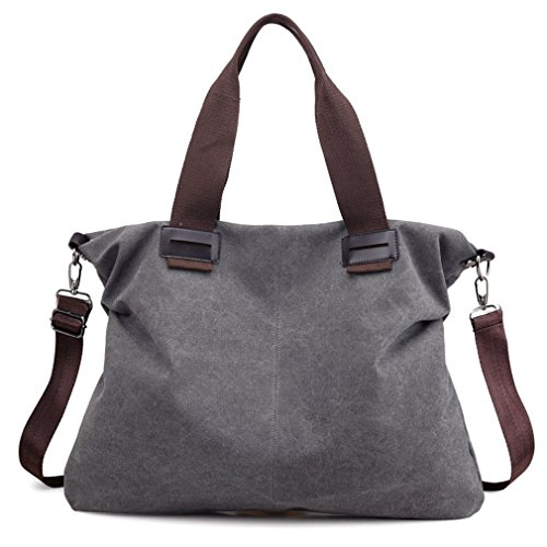 Women's Canvas Vintage Shoulder Bag Hobo Daily Purse Tote Top Handle Shopper Handbag (Grey)