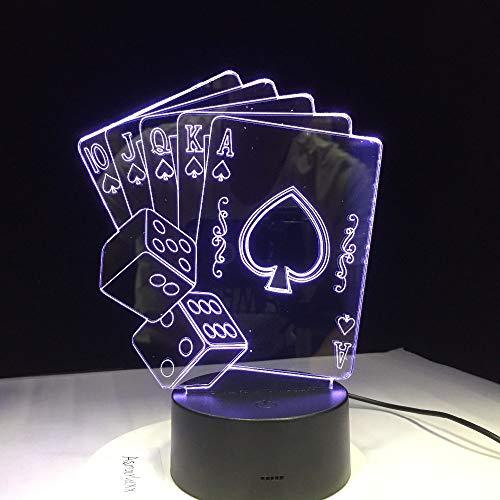 Rulaifozhu Datos del Juego de póker Creativo LED 3D LED decoración mágica 7 Cambio de Color luz Nocturna Navidad Fiesta Fiesta decoración del Club