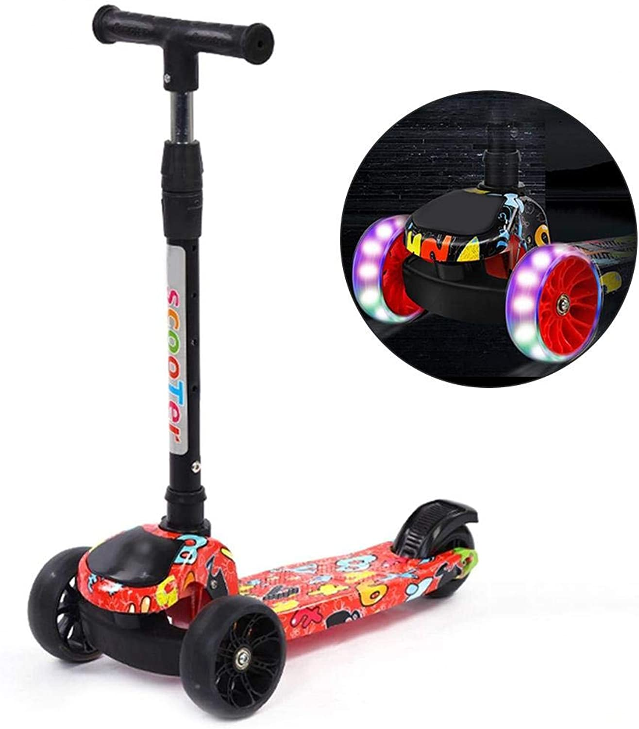 MultiFunction Folding Kick Scooter for Kids 3 Wheel Scooter for Toddler,for Ages 212,LED Light Up Wheels,Scooter Flashing Scooters