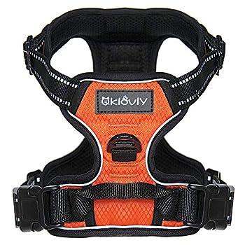 Qklovly Harnais pour chien, en nylon, réglable et rembourré avec poignée, harnais de dressage réfléchissant imperméable et respirant, orange noir
