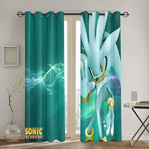 Cortinas para sala de estar Sonic el erizo para el dormitorio de las niñas cortina impermeable de ventana de 139,7 x 114,3 cm