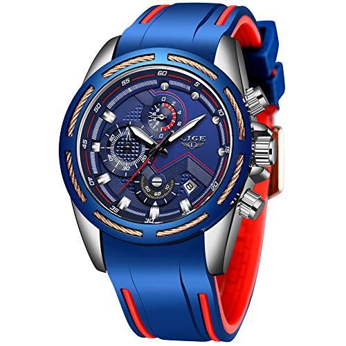 Herren Uhren LIGE Sport Militär Wasserdicht Chronograph Armbanduhr Männer Silikon Schwarz Herrenuhren Datum Kalender Modisch Analog Quarzuhr