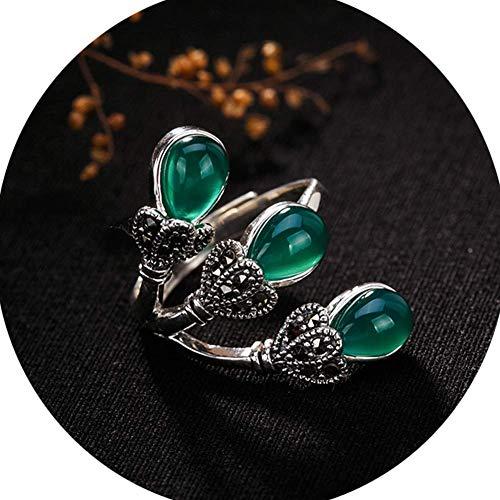 GJXY Mujer Collar Anillos Plata De Ley Piedras Preciosas Naturales Topacio/Jade Verde/Granate/Piedra De Arena Azul/Jade Blanco Hecho A Mano Joyas