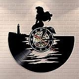 Orologio da parete sirena decorazione della casa camera dei bambini arte della parete magia del mare ragazza disco in vinile orologio da parete regalo