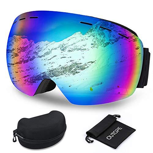 Outope Skibrille für Damen und Herren mit Anti-Nebel und UV-Schutz, OTG Ski Snowboard Brille Dual-Linse, Snowboardbrille für Schneemobil-, Skifahren oder Skaten