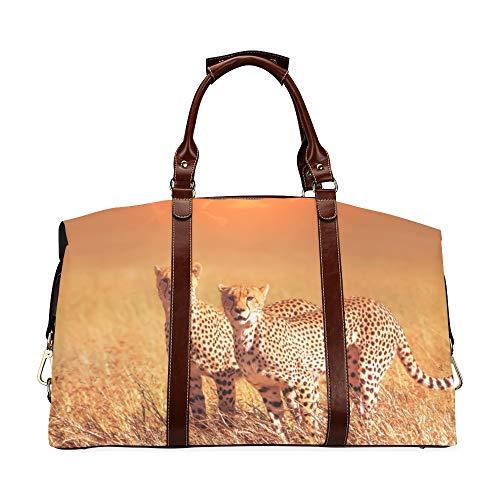 Carry On Travel Borsone da viaggio Gruppo di ghepardi Parco Nazionale del Serengeti Tramonto Classico Borsa da viaggio multiuso in pelle sintetica impermeabile oversize Borsa da viaggio