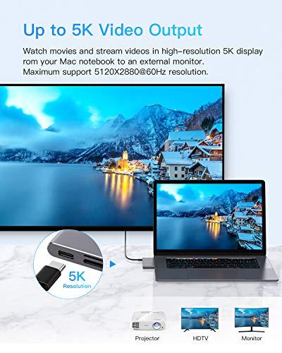 USB C Hub MacBook Pro Adapter, Type C Hub Adapter Slim Aluminium Thunderbolt 3 Adapter Dongle für MacBook Pro 2020/2019-2016, MacBook Air 2020-2018, 2 USB 3.0 Anschlüsse, 1 TF & 1 SD-Kartenleser