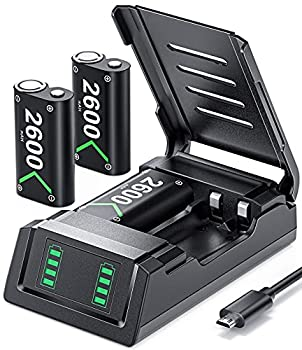 VOYEE Battery Pack & Charger Set Compatible with Xbox One/S/X/Series X|S Controller with 3x2600 mAh Battery Protective Shell Led Indicator  Black