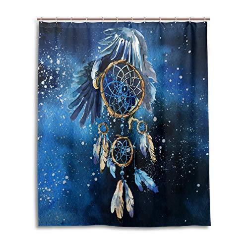 Pac Mac Wasserfarbener Traumfänger Adler Duschvorhang für Badezimmer, wasserdichter Stoff Duschvorhang mit C-förmigen Ösen, 152,4 x 182,9 cm